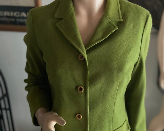 Pretty  Pendleton Vintage 1960s Kelly Green   Wool Women's Blazer