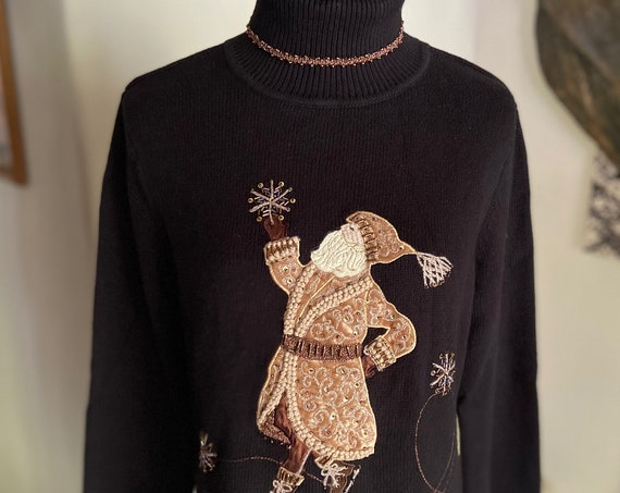 Beautiful Classic St. Nick Holiday Christmas Turtleneck Sweater from Talbots Size Medium