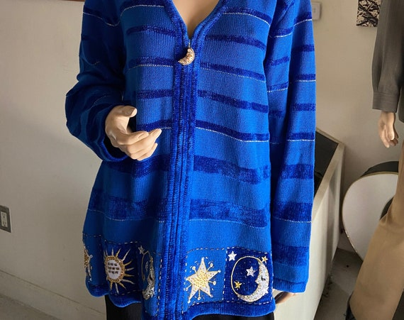 Cute Blue Women's Cardigan Sweater with Stars and Moon Motif Size Large