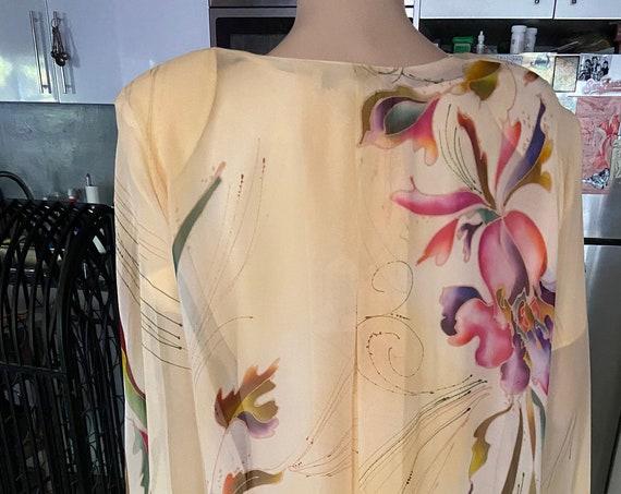 Vintage 1980s Yolanda Lorante  Pale Yellow Gorgeous Hand Painted Silk Two Piece Set f   Size Medium