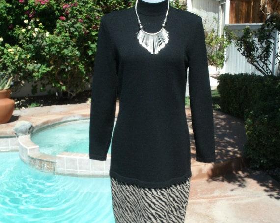 Classy Lillie Rubin Black Knit Dress,Vintage 80's,Size 6.