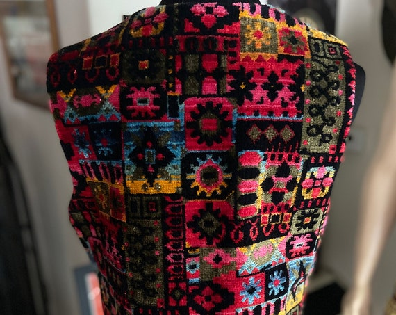 Gorgeous Vintage 1970s Colorful Tapestry Vest Deadstock with Original Tags