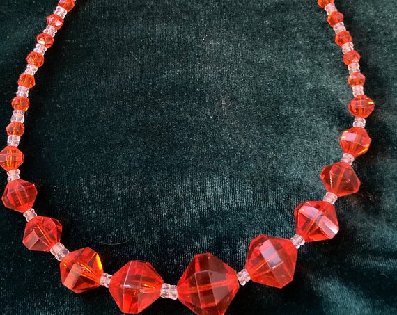 Stunning Midcentury Orange and Clear Glass Beaded Necklace