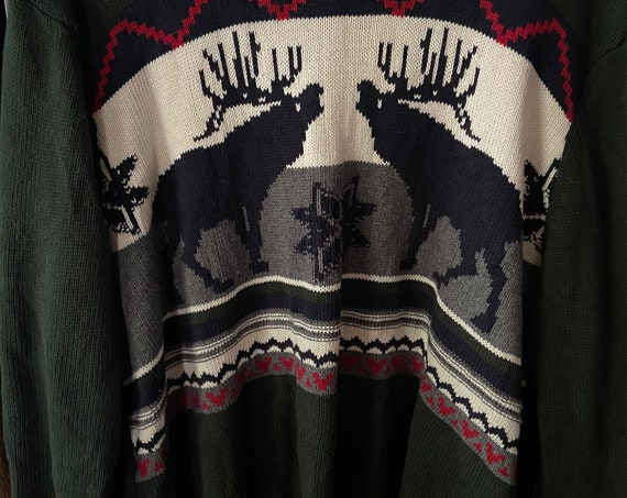 1990s Dockers Deer Christmas Holiday Winter Scene Sweater Size XL