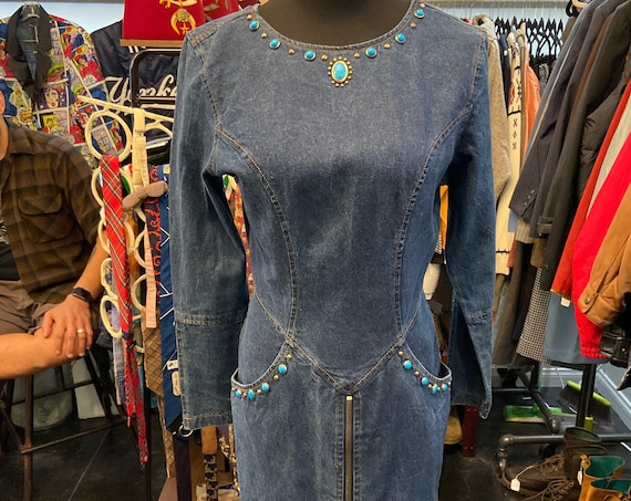 Cute 1990s Denim Dress Featuring Stone and Grommet Accents With Pockets and Front Zipper