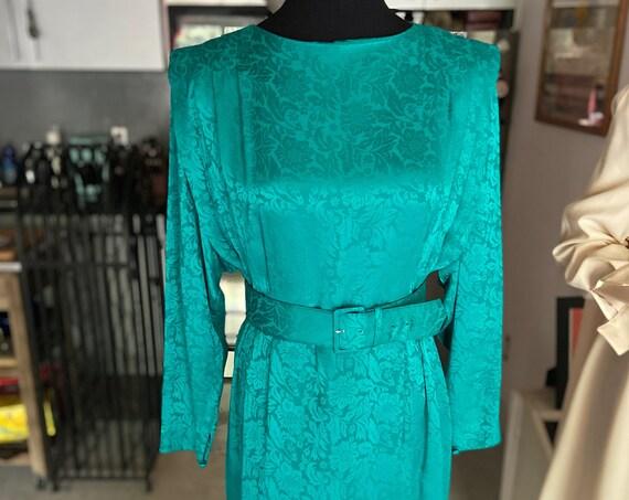 Beautiful Vintage 1980s Green Silk Secretary Dress from Liz Claiborne