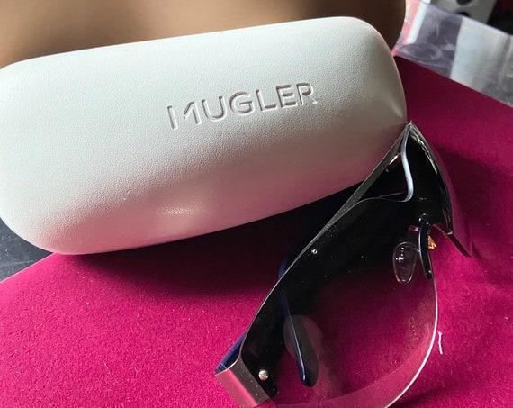 Fabulous Thierry Mugler Purple Frameless   Sunglasses and Case