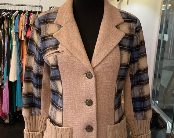 Cute  from Sundance Blue and Gray Plaid Wool and Knit Blazer