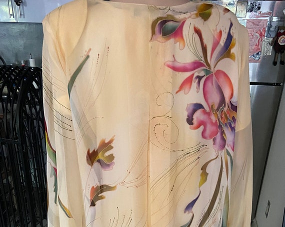 Vintage 1980s Pale Yellow Gorgeous Hand Painted Silk Two Piece Set from Yolanda Lorante Size Medium