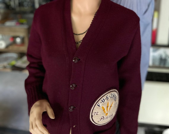 Vintage Early 1970s Women's Letterman Burgundy Sweater