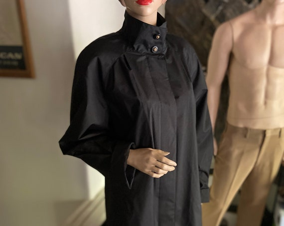 Long Black High-Necked Raincoat Trench with Gold Toned Top Buttons Size Large