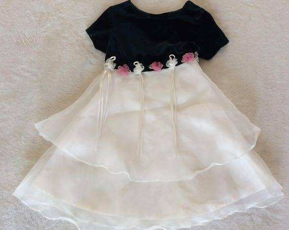 Beautiful Emerald Velvet,White Taffeta Dress with Rosettes,Size 4T.