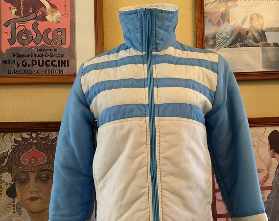 Cute Vintage Powder Blue and White Striped Ski Jacket,38 inch Bust.