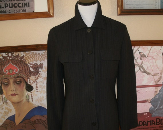 Vintage 90's Guess Black pinstripe Pant Suit,Size 8 Made in USA.