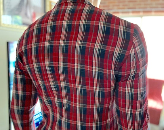 Red White and Blue Men's Plaid Jacket with Paisley Lining 38R