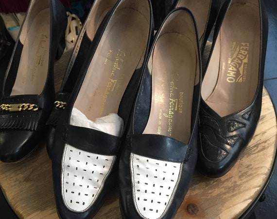 Vintage Ferragamo 1970s Lot of 3 Pairs of Women's   Loafers in Navy and White, Black with Gold Chain, and Black Leather and Alligator Sz 9.5