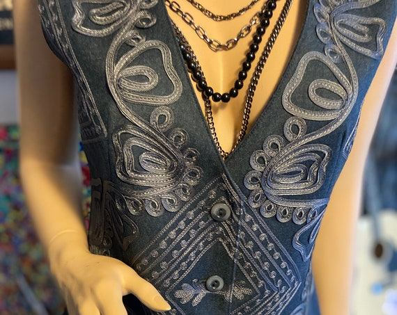 Lovely J. Peterman Soutache Charcoal Colored Vest