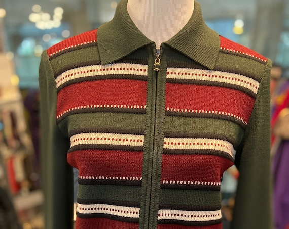 Adorable St. John Red, Green, and White   Sport Knits Cardigan with Zipper