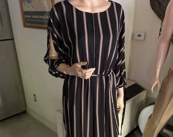 Black and Tan Striped Jumpsuit with Wide Palazzo Legs and Open Sleeves
