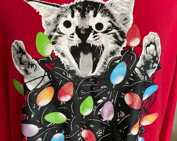 Adorable Crazy Kitty Christmas Lights Sweatshirt Size XL