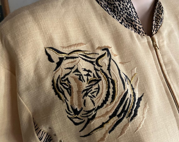 Super Cute Vintage 1990s Tiger Queen Zippered Jacket from City Girl by Nancy Bolen