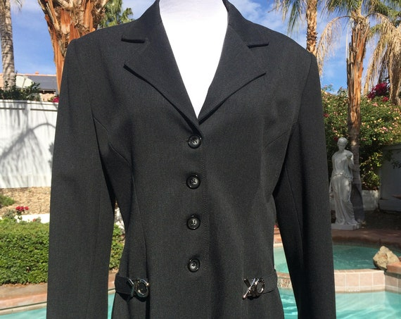 Vertigo of Paris Black Jacket with Stainless Steel Accents,Size Large.