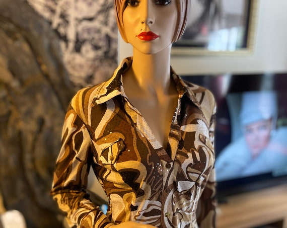 Sexy 1990s LowCut Snap Button Shiny Camo Blouse from Cache