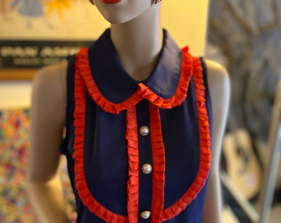 Adorable 60s-Inspired Blue and Red Mod Shift Dress