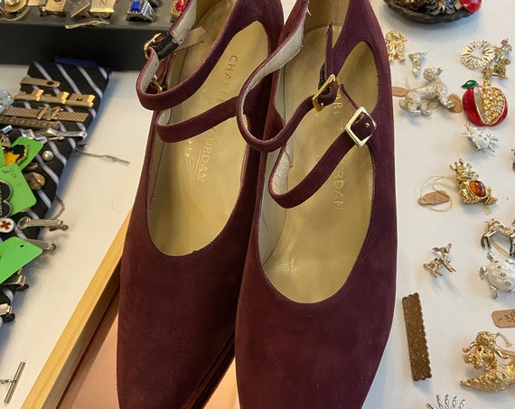 Vintage 1990s Deadstock Charles Jourdan Burgundy Suede Heels NWT Sz 8.5 Made in Italy