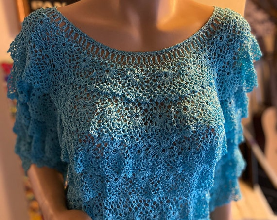 Gorgeous Silk Periwinkle Blue Knit Lace Doily Top