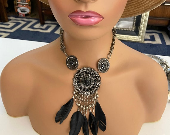 Beautiful Silver Toned Statement Necklace in Native American Theme with Black Glass and Real Feathers