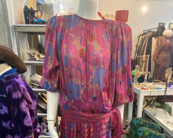 1980s Rare Diane Freis Boho Fuscia, Coral, and Purple Two Piece Tie Top and Skirt