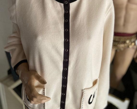 Pretty Horseshoe Motif Cream and Black Fleece Cardigan with  Size Large