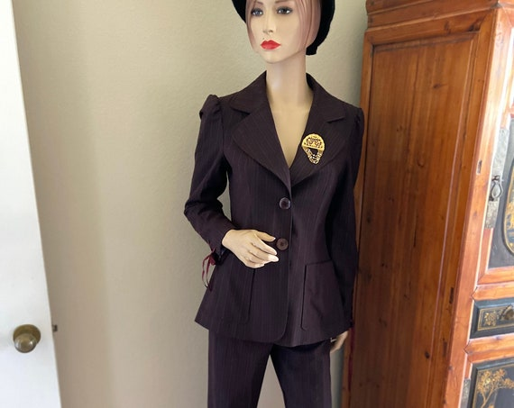 Nanette Lepore Plum Suit NWT Upcycled with Gorgeous Gold Toned 1960s Brooch