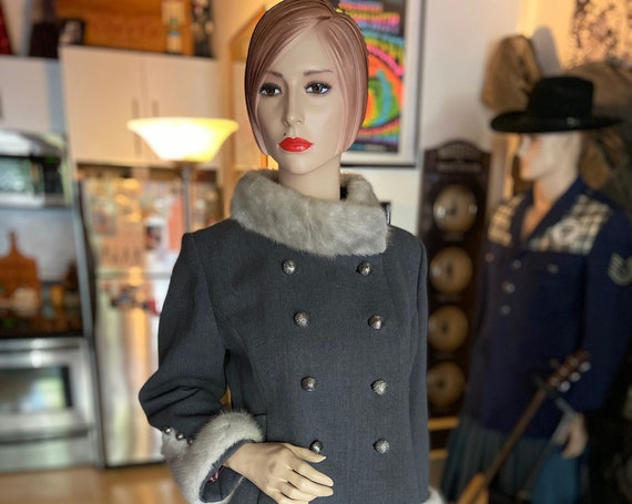Beautiful 1960s Wool and Mink Coat from Forstmann