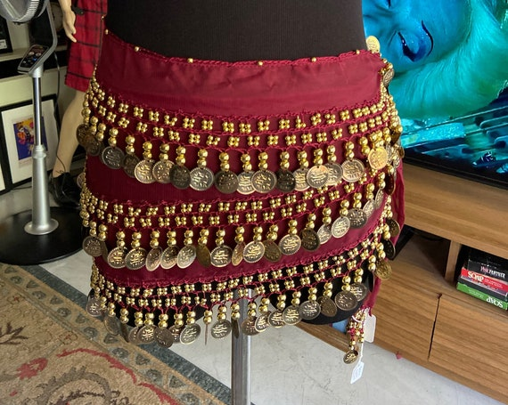 Beautiful Silk and Faux Gold Coin Pieces Gypsy Belly Dancing Scarf Skirt