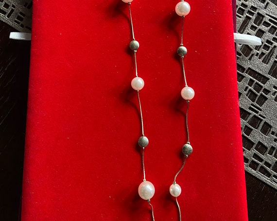 Pretty Floating Pearl and Medallion Long Necklace Chain