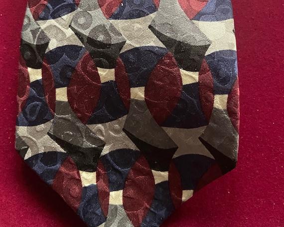 Vintage 1990s Silk Tie Ziggurat by Mulberry Neckwear