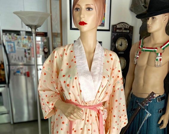 Vintage 1960s Japanese Kimono with Tiny Anime Character Pattern