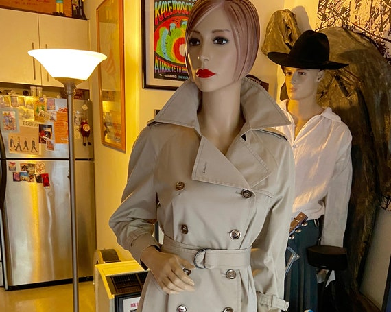 1980s London Fog Audrey Classic Double Breasted Trench Coat