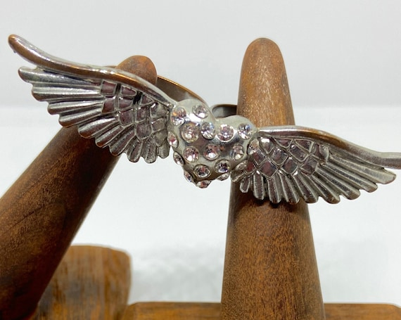 Heart with Wings and Rhinestones Cocktail Statement Ring with Double Ring Fit Size 8