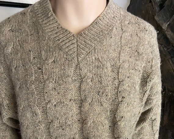 Vintage 1980s Gap Mens V-Neck Cable Knit Wool Sweater Size M