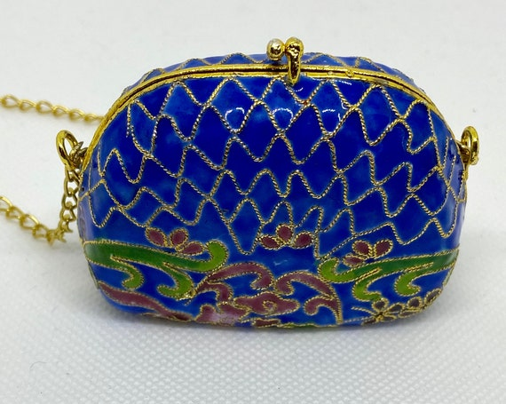 Pretty Blue and Gold Trinket Box  Enamel Purse Shaped   with Gold Toned Chain