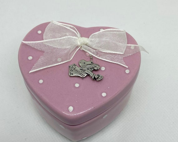 Pretty Pink Ceramic Heart Trinket Box with Polka Dots and Silver Angel on Top with Bow