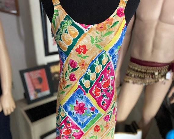 Adorable Maxi Vintage 1980s Hilo Hattie Cotton Floral Slip Dress Size Small