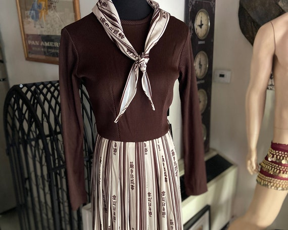 70's Pleated Skirt Dress with Writing and Matching Scarf by Toni Todd