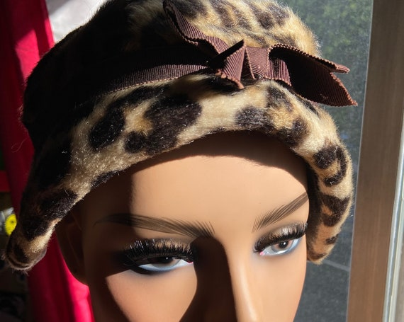 Cute Vintage Early 1960s Leopard Print Hat with Brown Bow and Band
