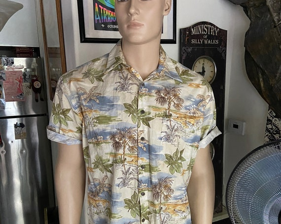 Vintage 1990s Pierre Cardin Hawaiian Shirt Sz Large