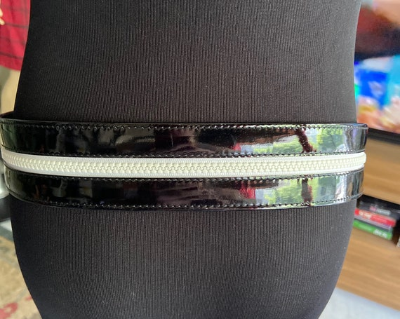 Gorgeous Escada Patent Leather Belt Black with White Zipper