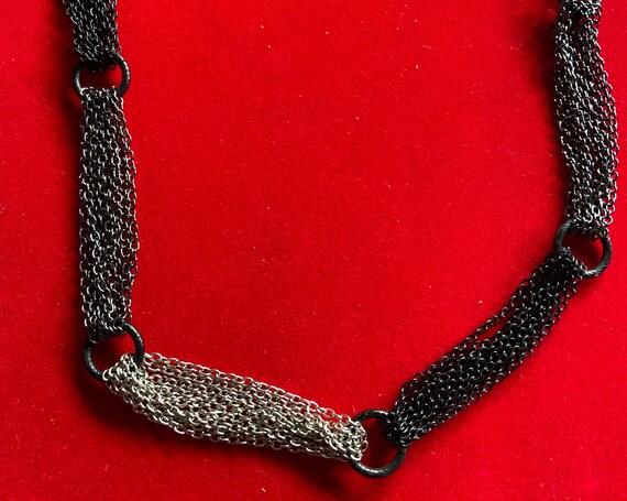 Unique Three-Toned Silver Grey and Black Chain Necklace